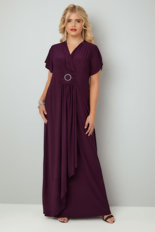 Evening Dresses YOURS LONDON Burgundy Layered Maxi Dress With Ring Detail 156250
