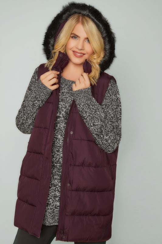 Plus Size Gilets Burgundy Longline Padded Gilet With Faux Fur Trim Hood