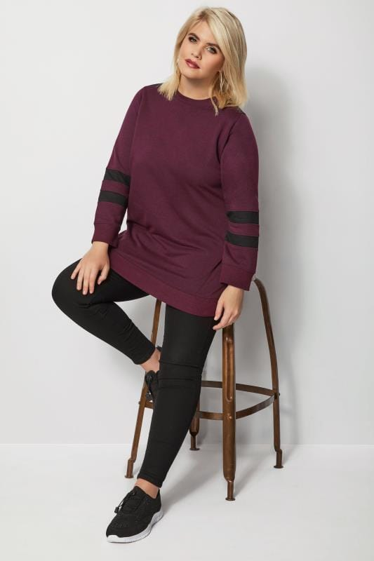 Burgundy Longline Varsity Sweater