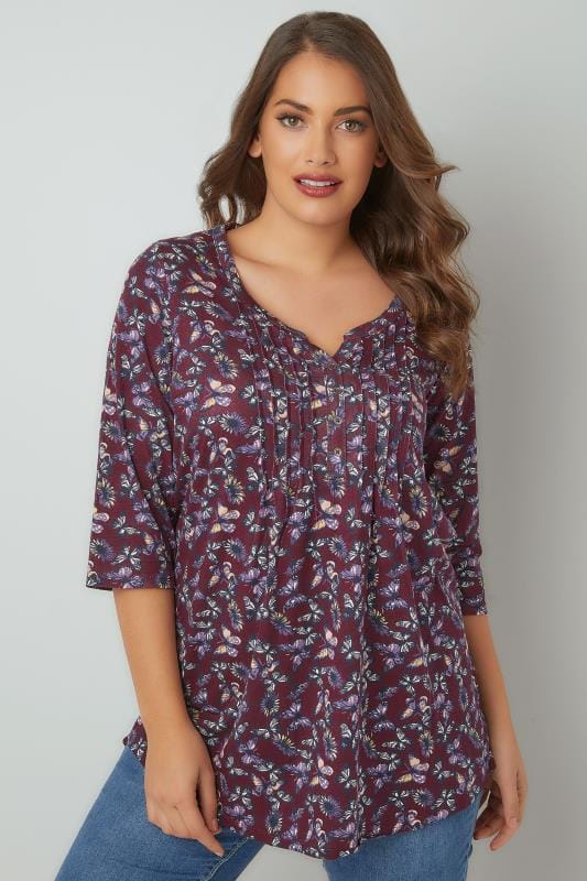 Burgundy & Multi Floral Pintuck Jersey Top