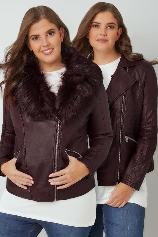 Plus Size Leather Look Jackets Burgundy PU Leather Look Biker Jacket With Faux Fur Collar