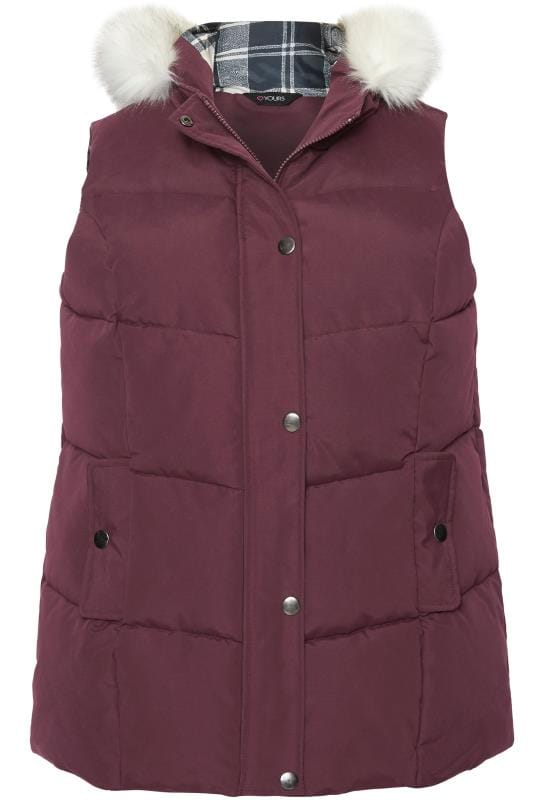 Grande taille  Vestes Sans Manches  Burgundy Padded Chevron Gilet With Faux Fur Trim Hood