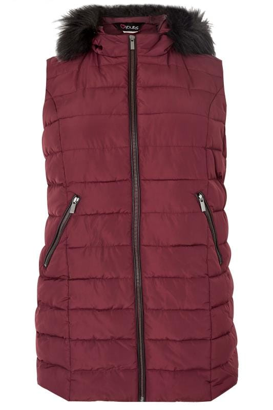 Plus Size Gilets Burgundy Padded Gilet With Faux Fur Trim Hood