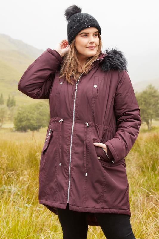 Plus Size Coats Burgundy Padded Parka Coat