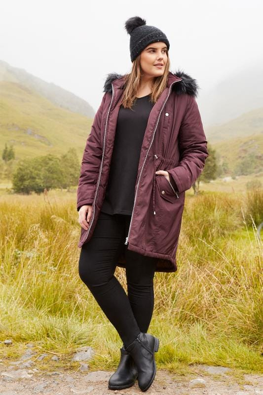 Burgundy Padded Parka Coat
