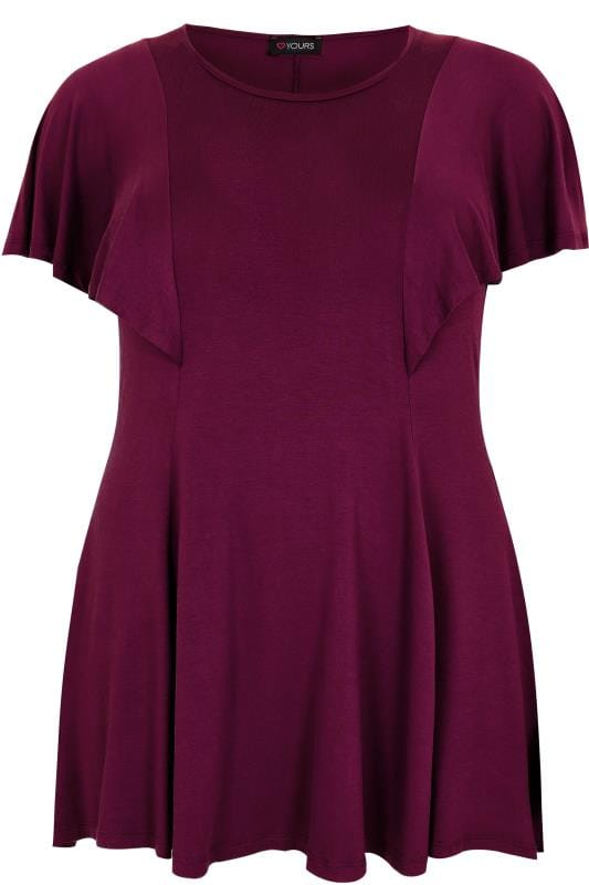 Burgundy Peplum Top With Frill Angel Sleeves