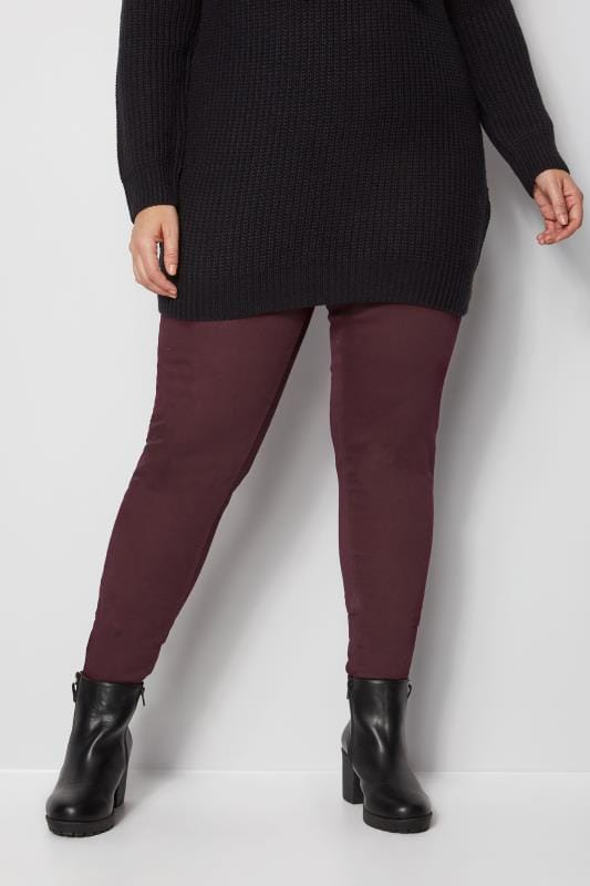 Plus Size Jeggings Burgundy Pull On JENNY Jeggings