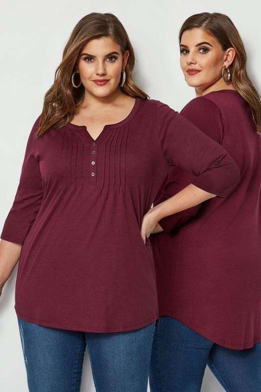 Burgundy Pintuck Jersey Top