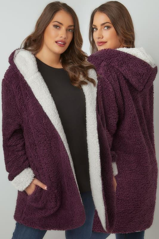 Fleece Burgundy Reversible Fleece Coat With Hood 126040