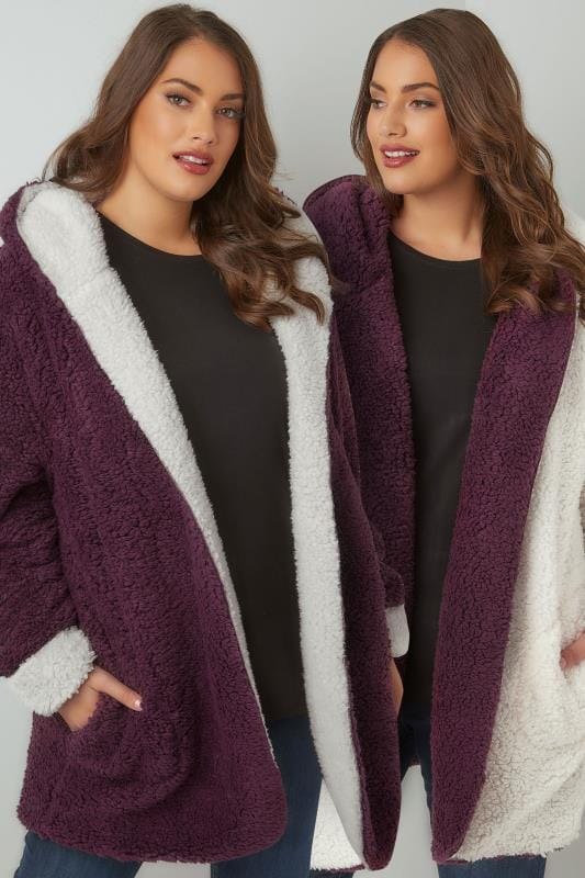 Burgundy Reversible Fleece Coat With Hood