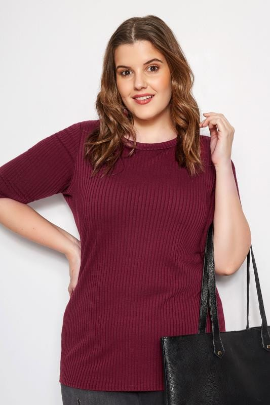 Burgundy Ribbed Top