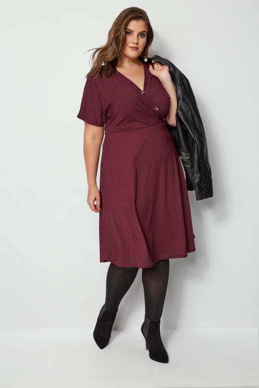 Burgundy Ribbed Wrap Front Dress