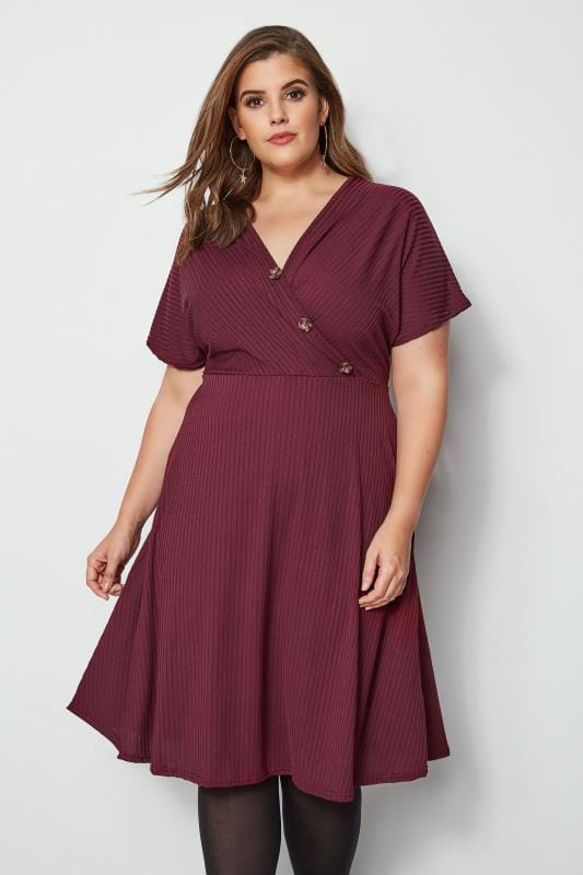 Plus Size Midi Dresses Burgundy Ribbed Wrap Front Dress