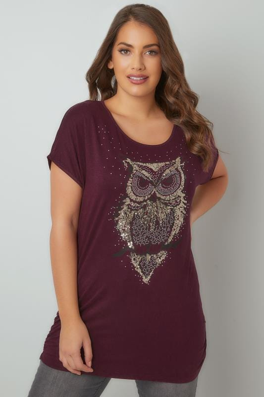 Burgundy Sequin Embellished Owl Print Jersey Top