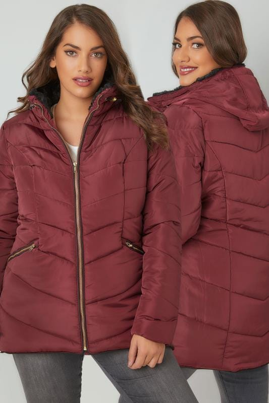 Burgundy Short Quilted Puffer Jacket With Foldaway Hood