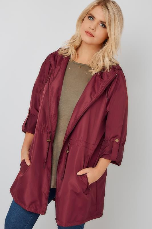 Plus Size Parka Coats Burgundy Pocket Parka Jacket With Hood