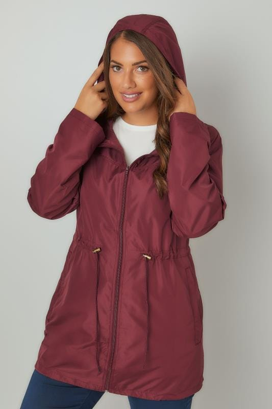 Plus Size Parka Coats Burgundy Pocket Parka Jacket