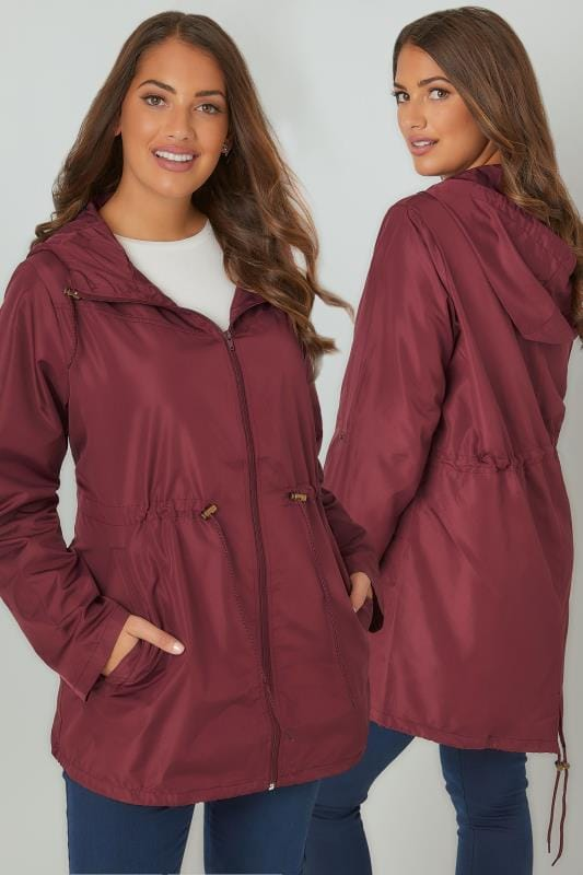 Parka Coats Burgundy Pocket Parka Jacket With Hood 120043