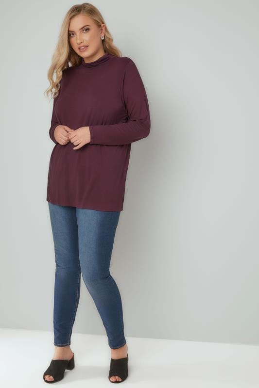 Burgundy Soft Touch Turtle Neck Jersey Top With Long Sleeves
