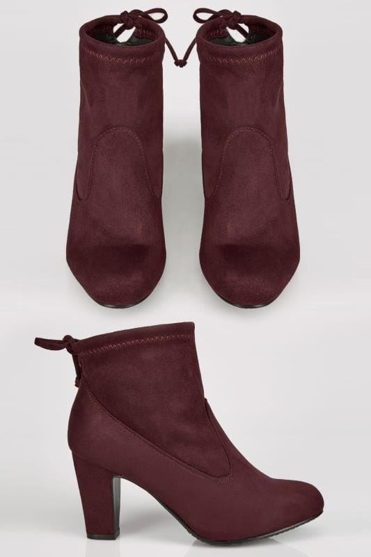 Wide Fit Ankle Boots Burgundy Stretch Heeled Ankle Boot With Tie Back In TRUE EEE Fit