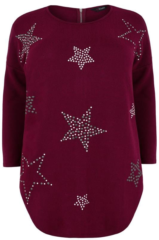 Burgundy Studded Star Print Fine Knit Top With Zip Back