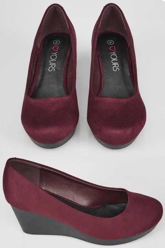 Burgundy Suedette Wedge Heels In TRUE EEE Fit