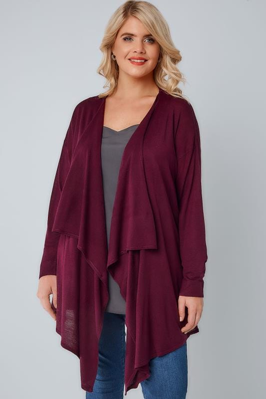 Burgundy Super Fine Knit Edge To Edge Waterfall Cardigan