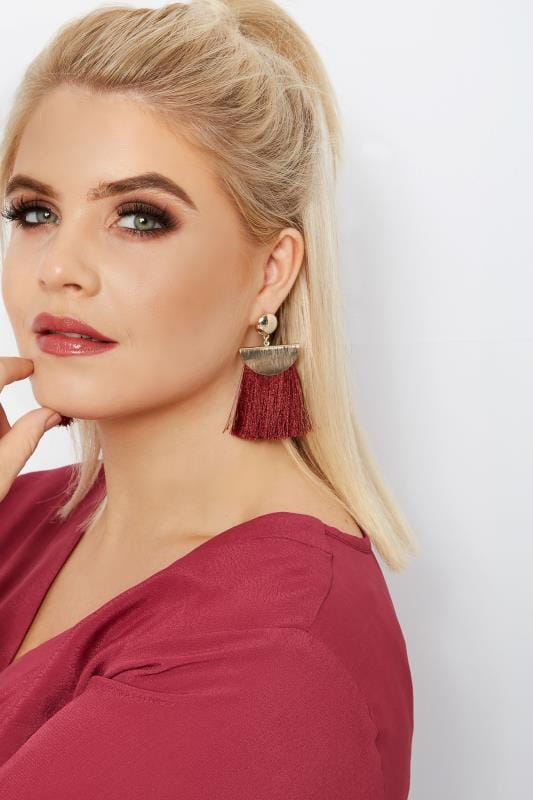 Plus Size Jewellery Burgundy Tassel Earrings
