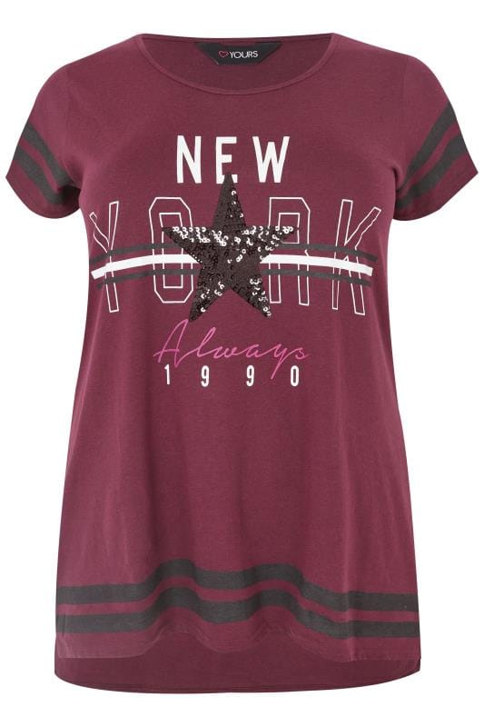Burgundy Varsity Slogan T-Shirt With Step Hem