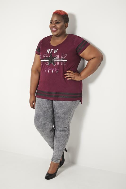 "T-Shirts Grande Taille T-Shirt Bordeaux ""New York"""