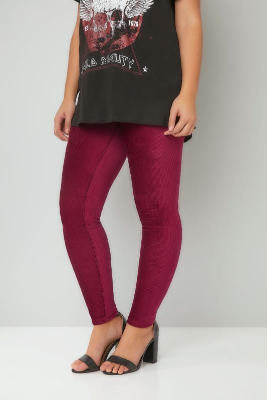 Plus Size Fashion Leggings Burgundy Velour Ribbed Leggings