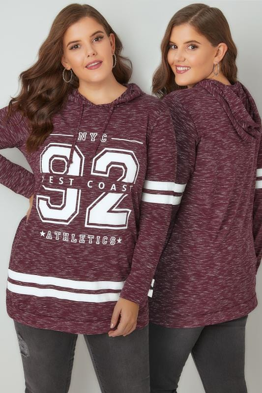 Burgundy & White Varsity Slogan Print Hooded Sweatshirt