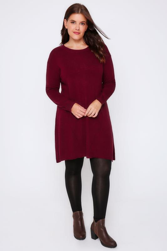 Burgundy Wool Blend Tunic Dress With Front Seam Detail