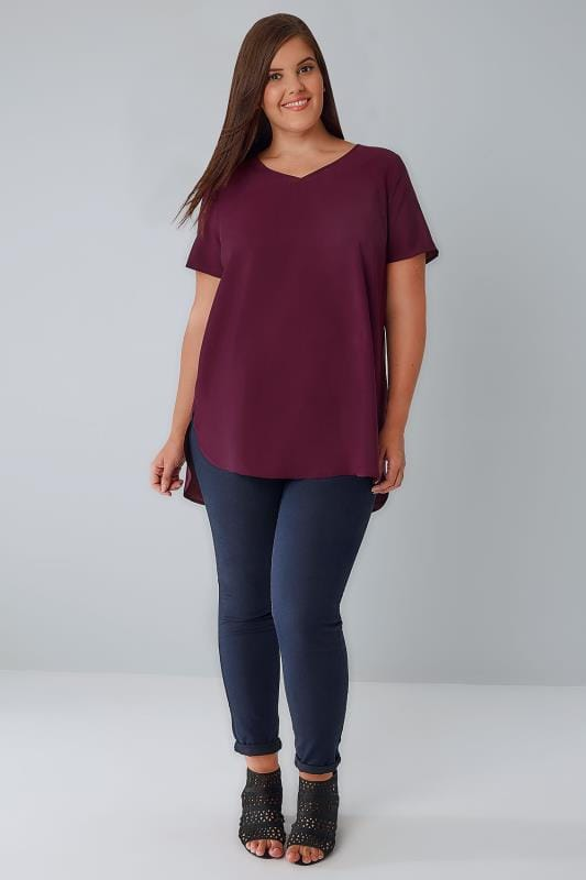 Burgundy Woven Top With V-Neck & Curved Hem