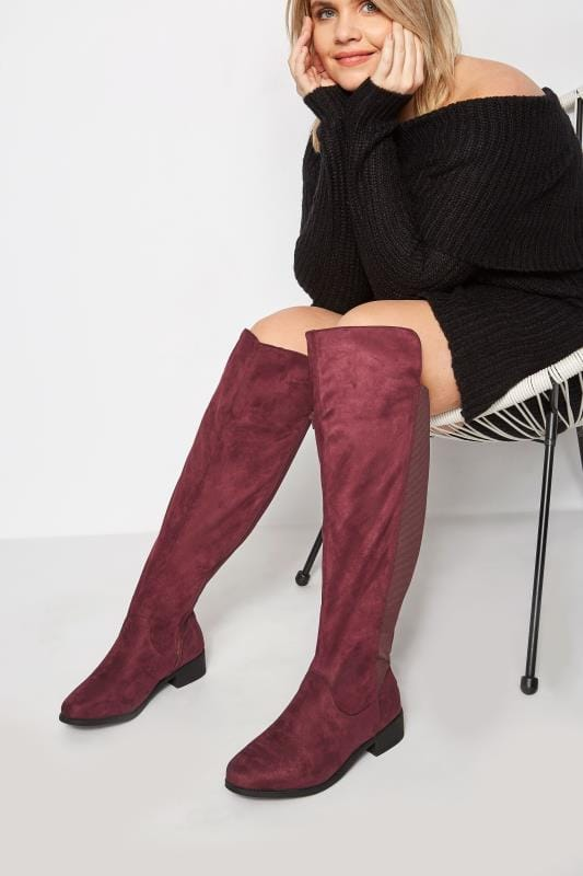 Wide Fit Knee High Boots Burgundy XL Calf Over The Knee Boots With Stretch Panel In EEE Fit