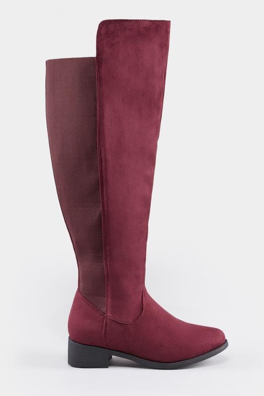 49de1a61cc0 Burgundy XL Calf Over The Knee Boots With Stretch Panel In EEE Fit ...