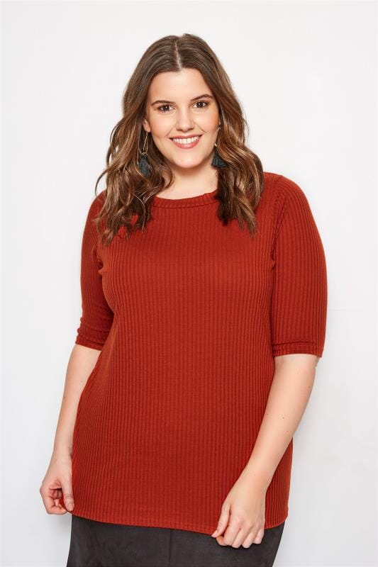 Plus Size Day Tops Burnt Orange Ribbed Top