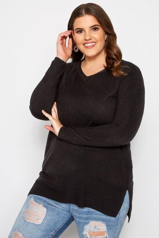 Plus Size Sweaters Black Fine Knit Cashmilon Jumper