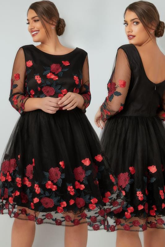 Soiree CHI CHI Black Aymie Rose Embroidered Dress With Mesh Sleeves 138705
