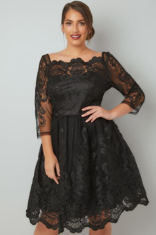 CHI CHI Black Divya Lace Bardot Prom Dress