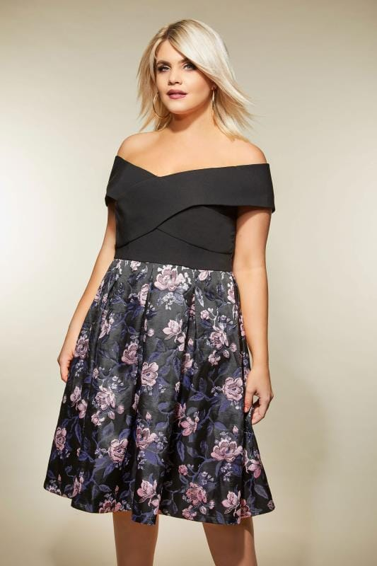 Plus Size Black Dresses CHI CHI Black Floral Bardot Dress