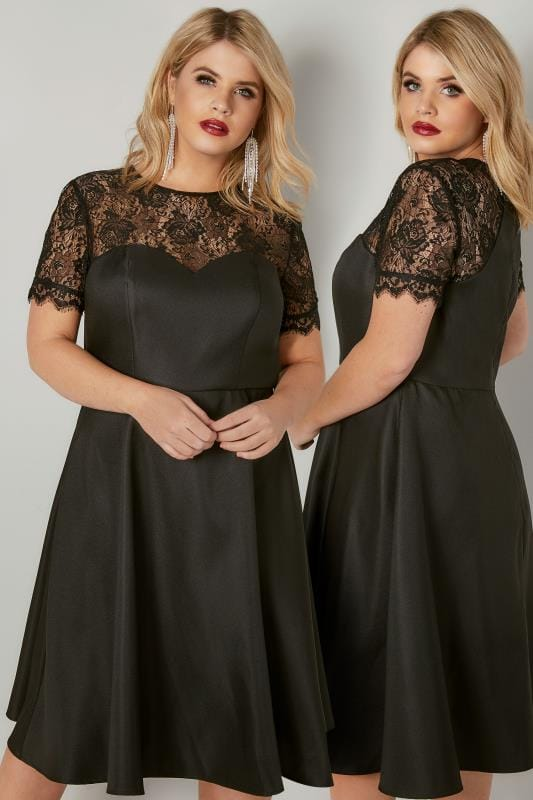 CHI CHI Black Georgie Midi Dress With Floral Lace Detailing