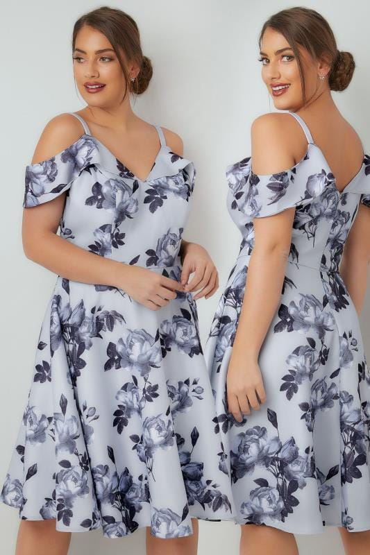 CHI CHI Blue Floral Mariana Skater Dress With Cold Shoulder