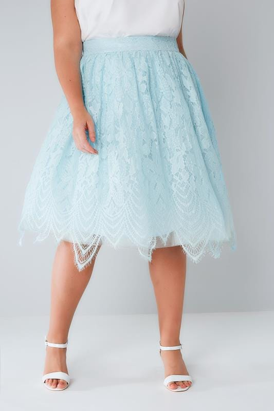 Plus Size Midi Skirts CHI CHI Blue Lace & Mesh Midi Skater Skirt With Eyelash Hem