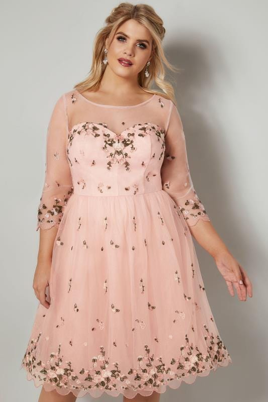 Plus Size Evening Dresses CHI CHI Blush Pink Floral Embroidered Mesh Harmonie Dress