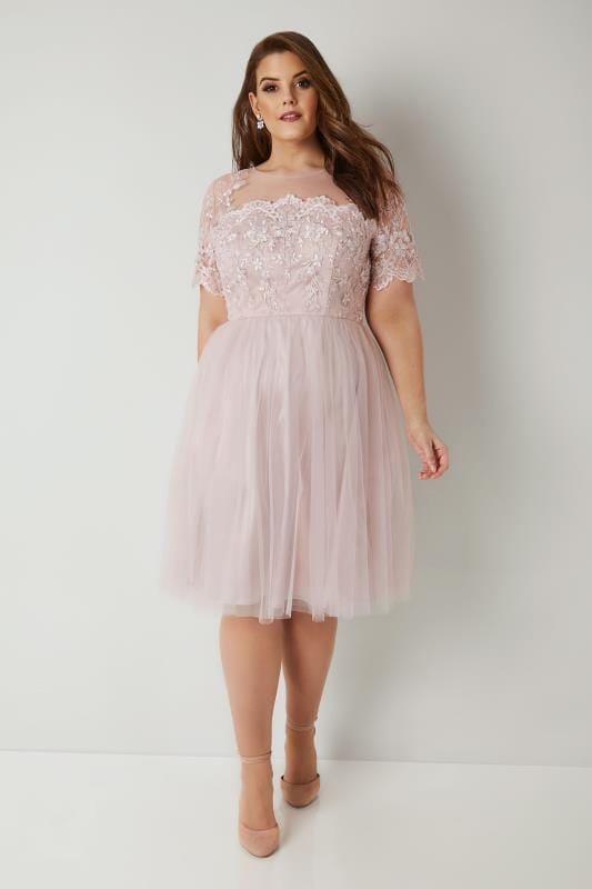 CHI CHI Blush Pink Floral Lace Evelina Dress