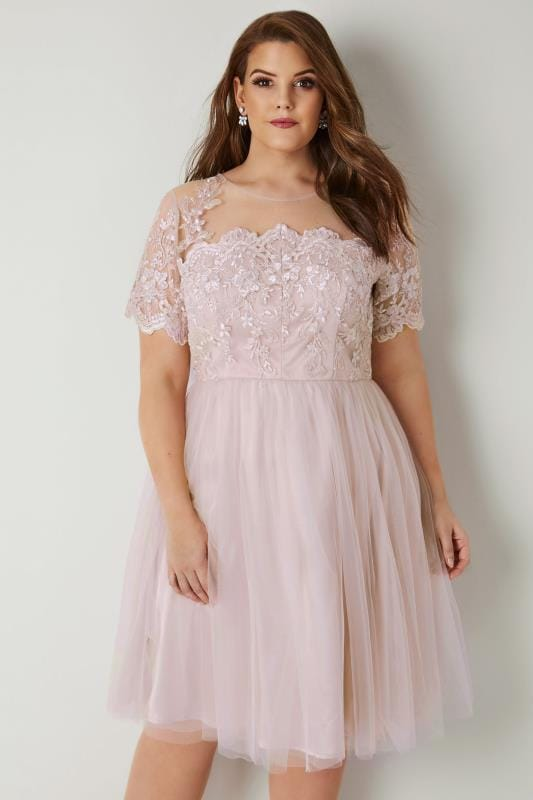 Plus Size Midi Dresses CHI CHI Blush Pink Floral Lace Evelina Dress