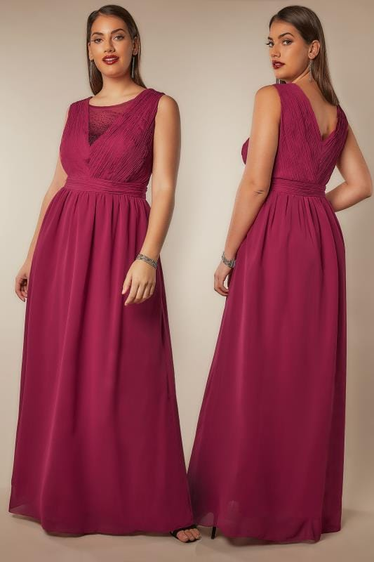 Maxi Dresses CHI CHI Dark Pink Amelie Maxi Dress With Diamante Mesh Neckline 138704