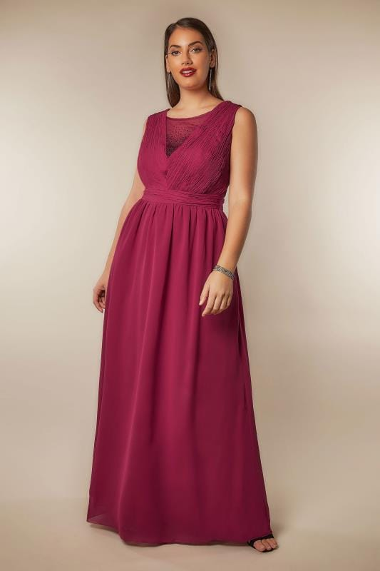 CHI CHI Dark Pink Amelie Maxi Dress With Diamante Mesh Neckline