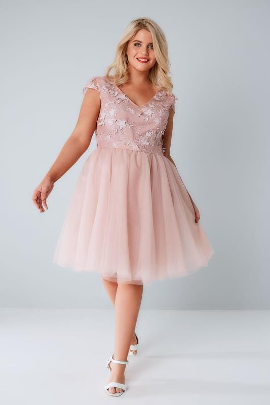 CHI CHI Dusty Pink Sleeveless Dress With Floral Bodice & Mesh Skirt